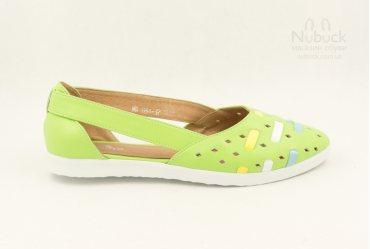 Летние женские туфли (балетки) TGT-031 lime
