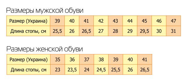размеры обуви картинки таблица для